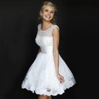 New 2014 white short wedding dresses the bride sexy lace wedding dress bridal gown plus size weddings ivory vestido de noiva 87
