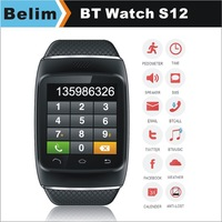 Free Shipping Smart Watch S12 with Caller ID display Sync Must and Phonebook/Facebook/Twiter Handsfree Pedometer Watch Anti-lost