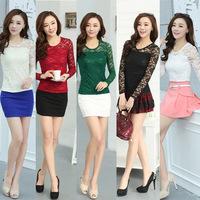 Female long-sleeved lace shirt Hitz 2014 Korean women lace long sleeved t-shirt lace tops white black red green blouse