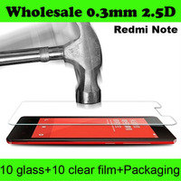 Free Shipping Wholesale High Clear Premium Tempered Glass Screen Protector For Xiaomi redmi note Without Retail Package