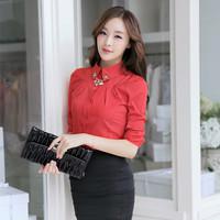 Free shipping 2014 Korean version of the new lapel shirt Slim fashion women chiffon blouse black beige red S M L XL XXL