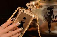 Bling Diamond Perfume Bottle for GuerlainLeather Lanyard Chain TPU Case For iPhone 5/5S 4/4S 1PCS/LOT