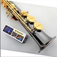 FREE SHIPPING DHSUZUKI B flat soprano Sax instruments black nickel and gold design carved