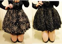 leopard print flower puff short skirt bust skirt