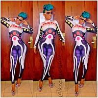 Free shipping kim kardashian Hot-selling print    fashion paragraph  set bandage jumpsuit kk003   sexy bandage