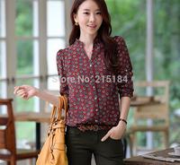 Polka dots Free Shipping Summer Chiffon blouse Casual 2014 Fall Fashion for women Shirt Women's Blusas femininas body clothing