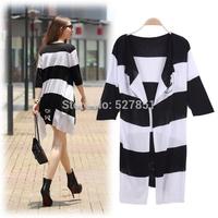 2014 Fall New Ms Knitwear Cardigan Fashion Stripes Long-sleeved Long section Cardigan