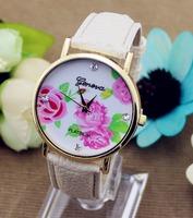 2014 new fashion leather roses geneva watch women look stylish dress quartz watch orologio yes polso free shipping