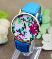 2014 New Fashion Leather GENEVA watch Rose Flower ladies wristWatches 13 colors Quartz dress Watches 1pc/lot JD333
