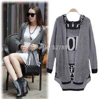 2014 Fall Fashion Women New Cardigan Irregular Long-sleeved Air conditioning Shirt Temperament Long section Hooded Knitwear coat