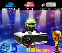 Free shipping android4.2.2 wifi projector 3d, 220W high power LED lamp, 4500 lumens, 1280*800 resolution RJ45 HDMI USB VGA AV SD