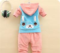 Freeshipping two-piece HOT 2014 autumn new Korean version children suit,velvet bear suit children Children's clothes