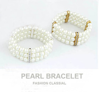 [Mix 15USD]New Arrival Fashion 3 Layers crystal spacer white Pearls Gold or Silver Bracelet wholesale for women Jewelry