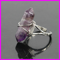 10PCS Natural Amethyst Stone Adjustable Rings Gems Stone Hexagonal Point Reiki Chakra Beads Jewelry Women Silver Plated