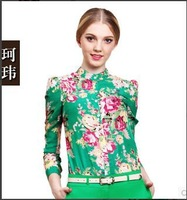 2014 New Fashion Women Chiffon Blouses Women Flower Print Lapel Casual Chiffon Long Sleeved Shirts Women Tops WC0276