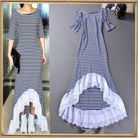 New 2014 Autumn fashion women's black and white stripe irregular cutout dovetail formal dress