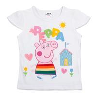 FREE SHIPPING K4079# White18m/6y NOVA Kids wear child clothing printed cartoon peppa pig hot sale girls short sleeve t-shirt