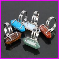 10PCS Natural Mix Gems Stone Adjustable Rings Gems Stone Hexagonal Point Reiki Chakra Beads Jewelry Women Silver Plated