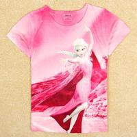 NOVA Kids Frozen wear Girl's short sleeve T-shirs Beautiful Elsa t shirt K5248Y#