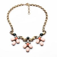 $ 15 Free shipping 2014 New fashion New fresh sweet pink flowers and elegant gem female necklace accessories