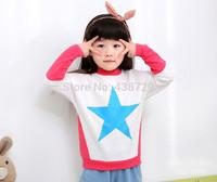 Freeshipping HOT 2014 autumn new Korean version children wear,boy and girl star Long sleeve T-shirt  fashion Leisure pullover