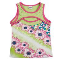 Nova kids children clothing  printed beautiful flowers sleeveness girl autumn -summer T-shirt kids vests & waistcoats N2722#