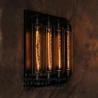 Rh loft balcony bar loft metal wrought iron wall light retro decoration wall lamps with 4 edison bulbs