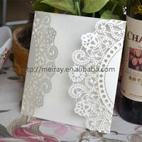 """Elegant wedding cards """"flowers lace""""  laser cut elegant wedding invitation card in beige or cream"""