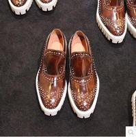 plus size 47 2015 jiniwu fashion men's thick sole handmade rivets European style  genuine leather platform loafers shoes JK55
