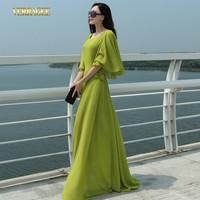 2014 New arrival women's lemon green chiffon dress fashion flare sleeve plus size maxi dress autumn mopping the floor dress