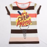 FREE SHIPPING K2843# 3y/8y NOVA kids wear child cartoon printed ICE CREAM PARLOUR striped Girls short sleeve T-shirt