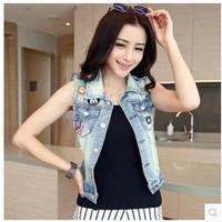2014chun Xia Female Vest Sleeveless Vest Badge Street Vintage Denim Vest  Jacket Women Fashion High Quality Free Shipping