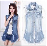 Summer Long New Dress Code Denim Jacket Worn Denim Vest Sleeveless Jacket Female Tasselwomen Fashion High Quality Free Shipping