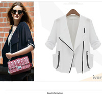 New Fashion Women's Designer Navy/White Loose Short Jacket Ladies Casual 7 minutes Sleeve Short Autumn Coat/Outwear  2014Winter