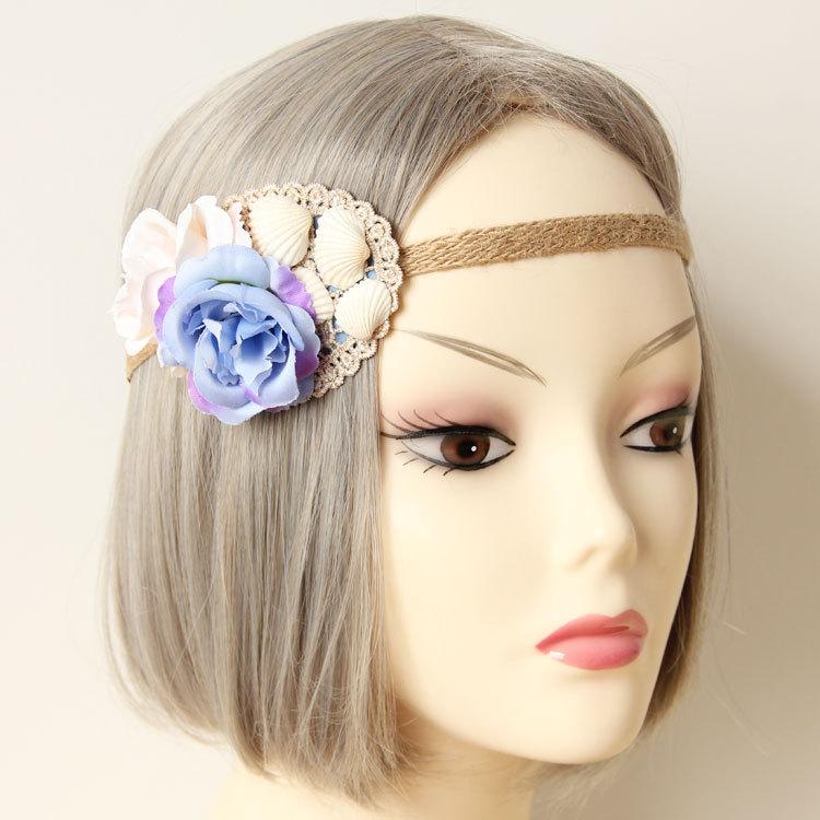 Fashion nice blue rose flower headbands hair bands(China (Mainland))