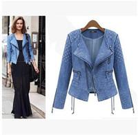 2014 Explosion Autumn  European Station Brand Cardigan Denim Jacket Female Long Sleeved Short Coat  Women Fashion High Quality