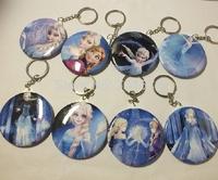 Hot movie Frozen Keychain Mirror& Keyring 2 in 1 Princess Queen Elsa Anna Olaf Figurine Pattern Gift