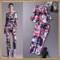 2014 Autumn fashion women's fashion design print fashion long top and trousers twinset