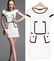 Women's Summer Chiffon Dress White Short Sleeve Casual A-line Dress