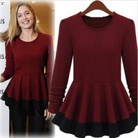 New 2014 Autumn/Winter Women Designer Cotton+Spandex Wine Red Long Sleeve Shirt Casual Slim Blouses Tops for Women