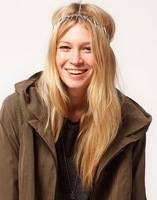Free shipping 2014 Silver spike elastic hairband headband for wommen  M008