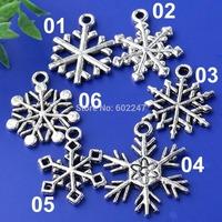 Mixed Tibetan Silver SnowFlake Charms Pendants for DIY Jewelry Making, 1200pcs/lot