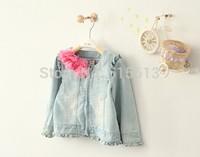 wholesale 6pcs/lot High quality,2014 New Autumn Korean 2-10yrs baby girl denim jackets,bow,fashion kids coat,children outwear