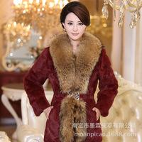 2014 new women's super fur collar integral skin hair in long fur coat factory direct sales