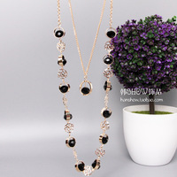 Double layer long necklace female all-match pearl beaded necklace accessories clothes decoration accessories