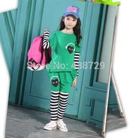 Freeshipping HOT 2014 autumn new Korean version children suit,loving heart stripe Sport girl suit two-piece suit