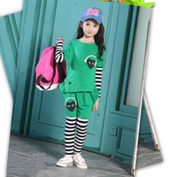 Freeshipping HOT 2014 autumn new Korean version children suit,loving heart stripe Sport girl suit two-piece suit