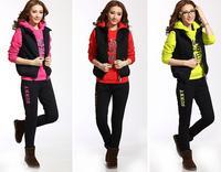 Women casual sports suit autumn and winter long sleeve letter print thick fleece sweatshirt 3pcs set female hoodies suit M~XXL