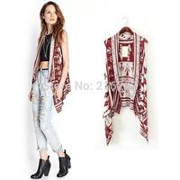 2014 Newest Fashion Southwest Wind Irregular Cardigan Knitted Women Vest S M L WXY15804OL