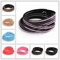 New Arrival 6 Layer long Leather Bracelet luxury handmade bracelet with bling rhinestone charm wrap bracelets bangles for women